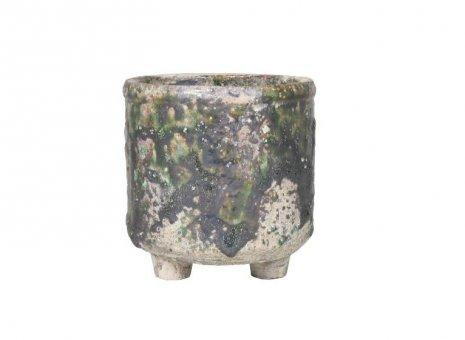 Bloempot cilinder Boris groen op voet