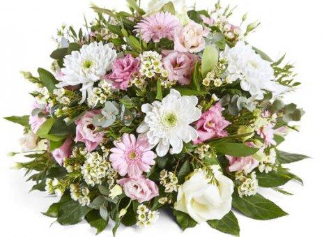 Rouwstuk rond wit/roze