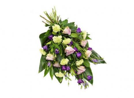 Rouwboeket lila